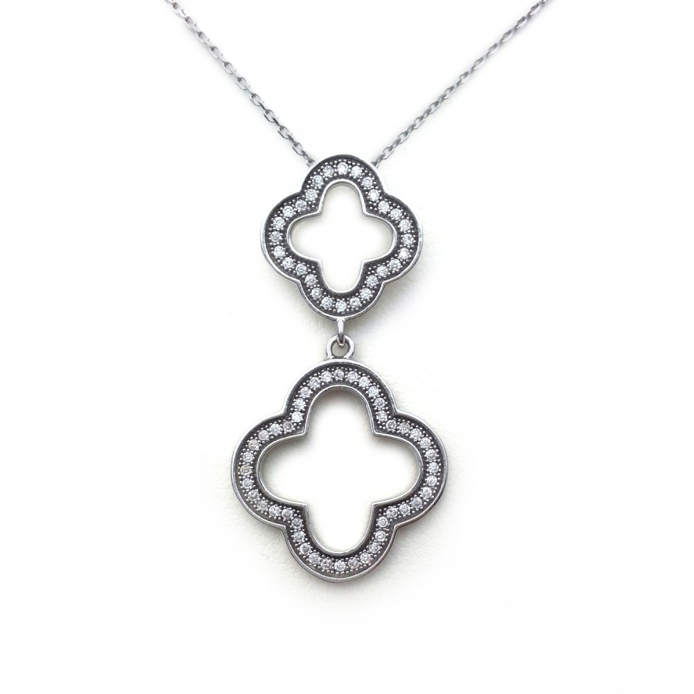Cubic Zirconia Clover Leaf .925 Sterling Silver Pendant