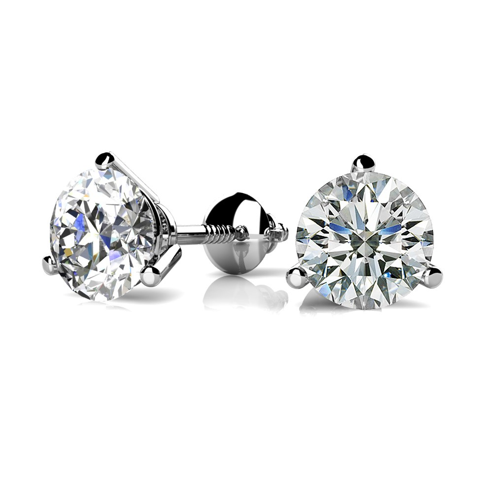 stud diamond jewelry round prong ct studs tw martini earrings gold white