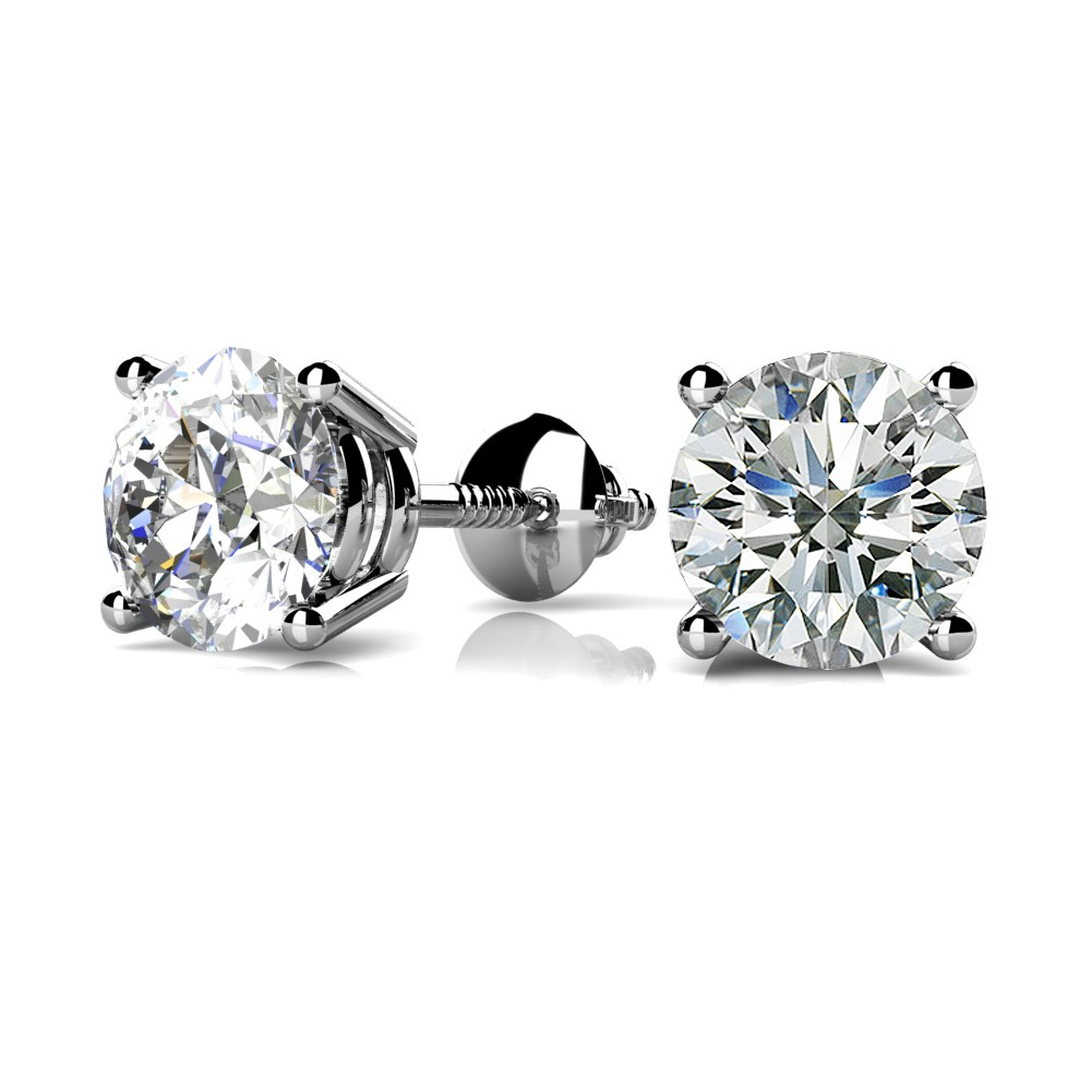 diamond round products stud white the gold earrings jewelry solitaire unisex firm cttw
